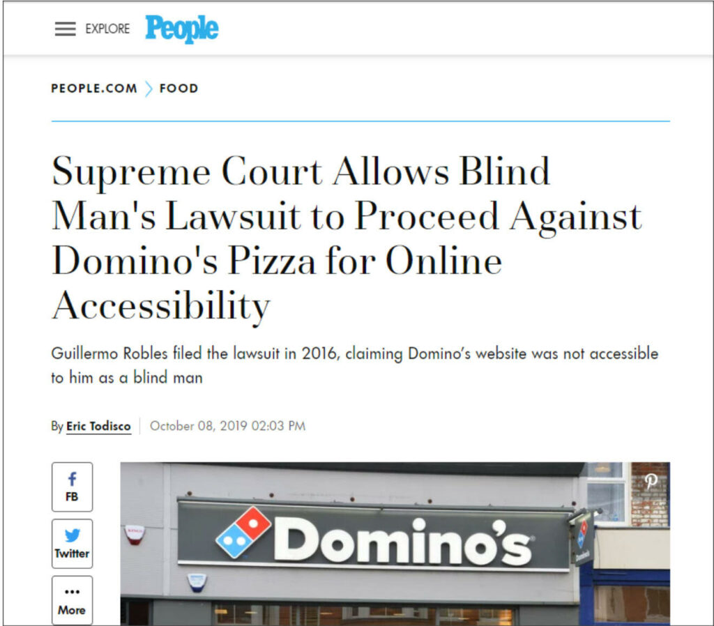 screenshot of ada lawsuit of dominos pizza