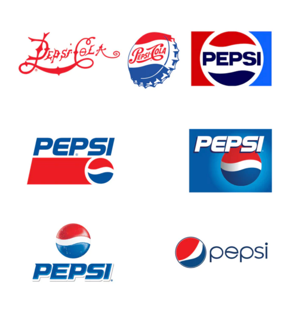 Pepsi logo design changes through the years